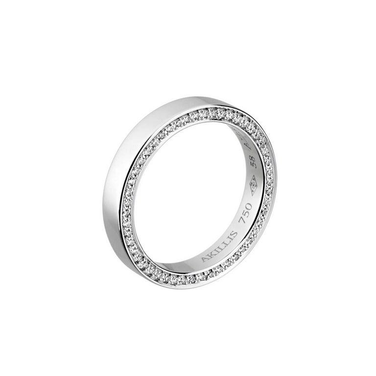 Akillis Bridal Engagement Ring for Him 18 Karat White Gold White Diamonds For Sale