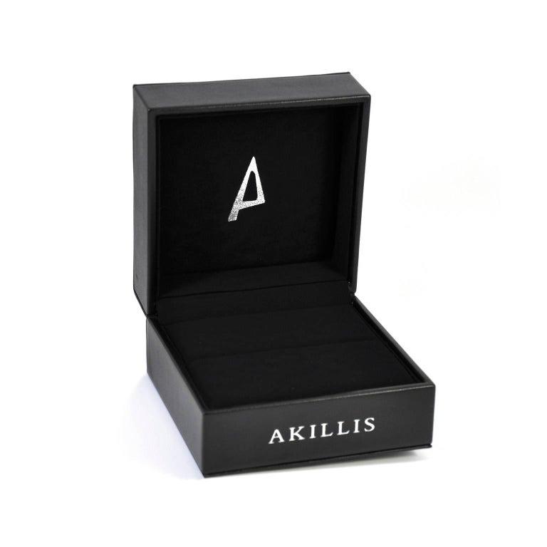 Women's or Men's Akillis Bridal Engagement Ring for Him 18 Karat White Gold White Diamonds For Sale