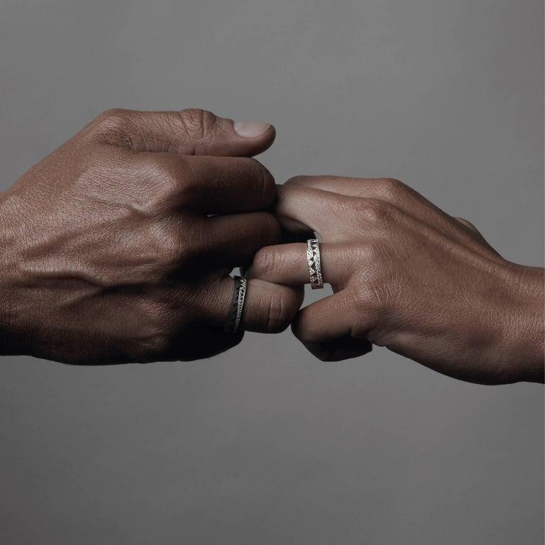 18K white gold AKILLIS Capture Me band ring for him half-set with white diamonds.                                                                                                   Diamonds (cts): 0,304