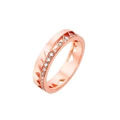 Akillis Capture Me Band Ring 18 Karat Rose Gold Half-Set White Diamonds
