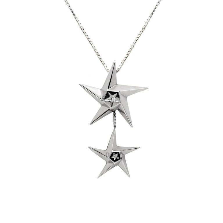 Star of david merkaba diamond gold geometric pendant necklace for daou star drop diamond and white gold two star graduated pendant drop necklace aloadofball Image collections