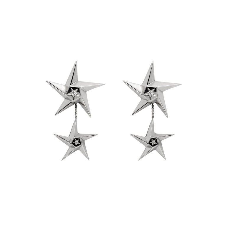 Daou Diamond and White Gold Convertible Star Drop Earrings