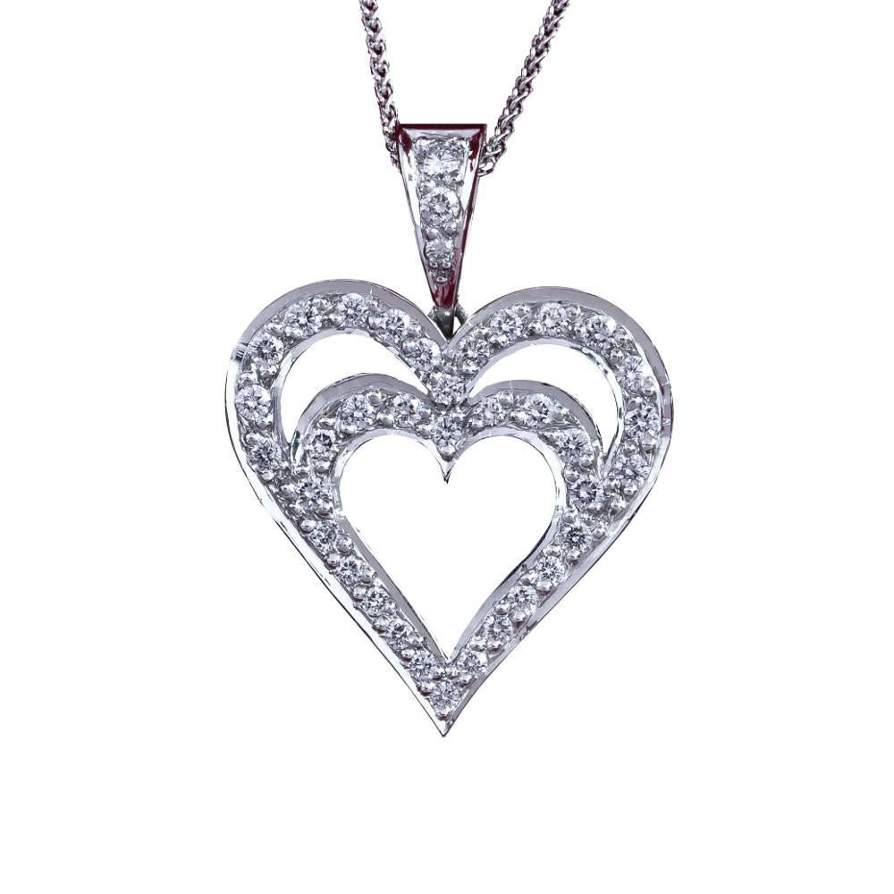 Daou Jewellery Diamond & White Gold Side By Side Hearts Pendant 24F1FrIG5