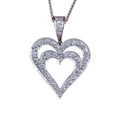 Daou Diamond and White Gold Heart in Heart Pendant Necklace