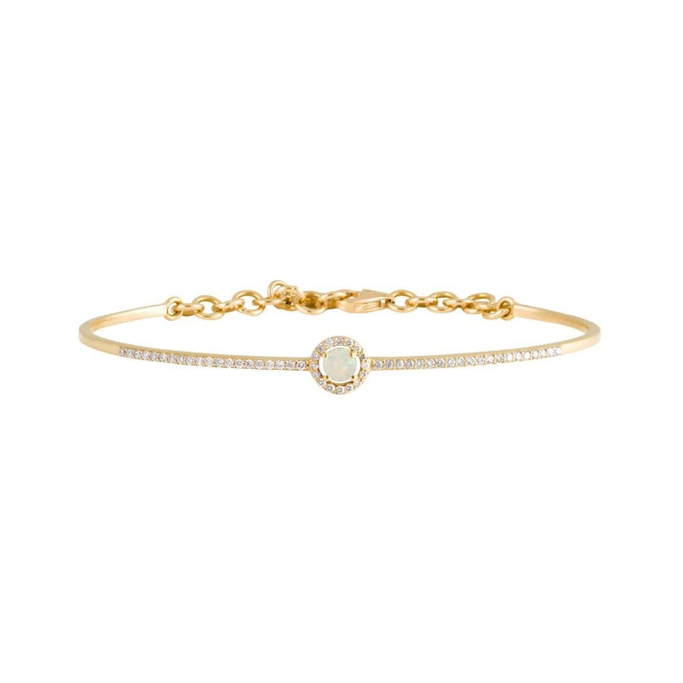 Daou Diamond and Opal Halo Orbit Yellow Gold Delicate Fine Bangle Bracelet