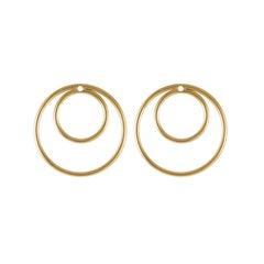 Daou Yellow Gold Orbit Convertible Double Hoop Multiplier Earrings