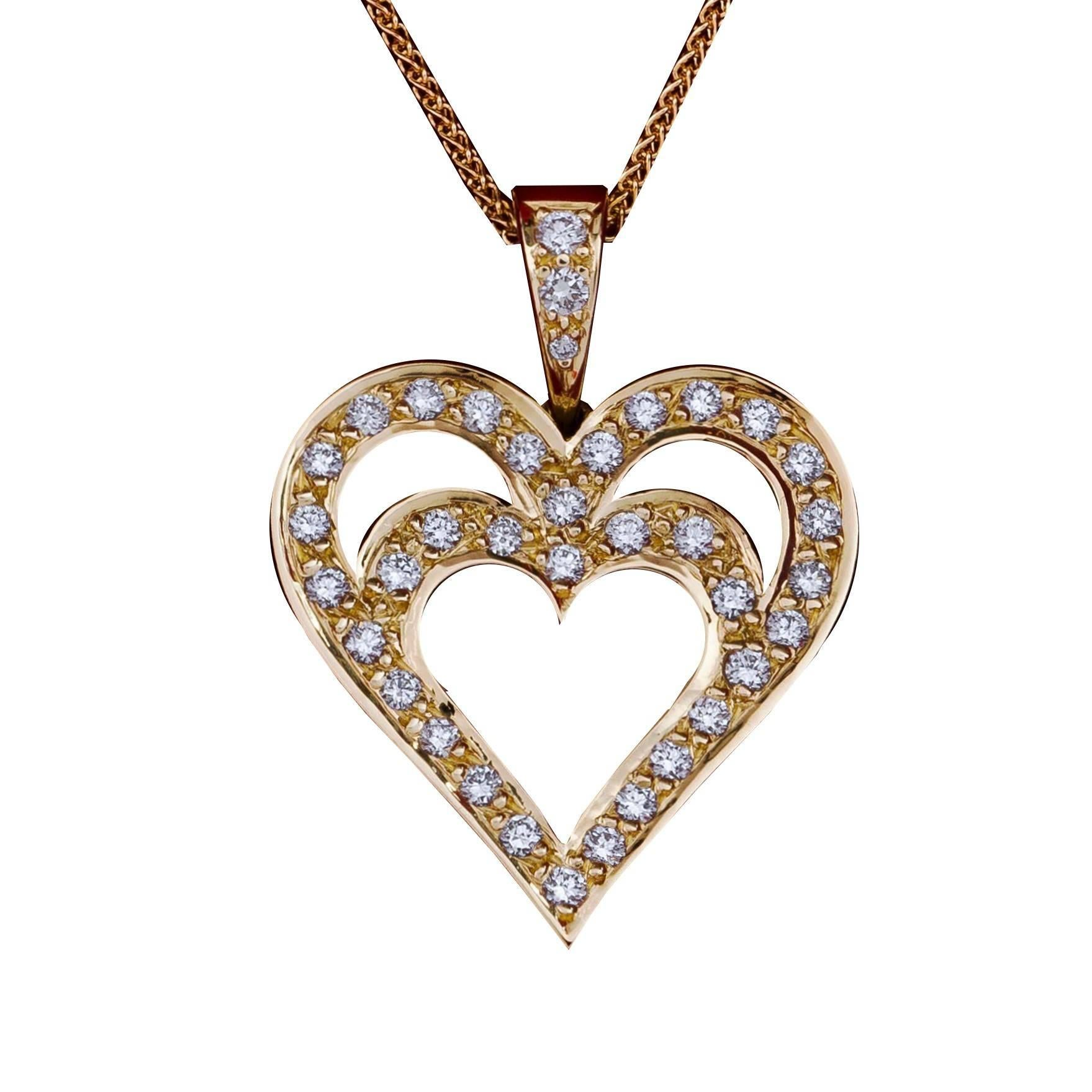 Daou Jewellery 18kt White Gold & Diamond Heart in Heart Pendant - 16 inch - 40 cm - Yellow Gold - 18k qciXvH