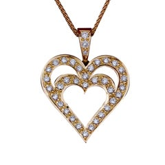 Daou Diamond and Yellow Gold Heart in Heart Pendant Necklace