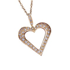 Daou Diamond and Yellow Gold Large Open Heart Pendant Necklace