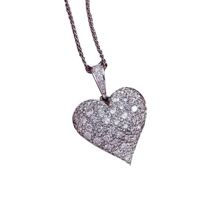 Daou Diamond and White Gold Full Heart Pendant Necklace