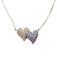 Daou Diamond White and Yellow Gold Touching Full Hearts Pendant Necklace
