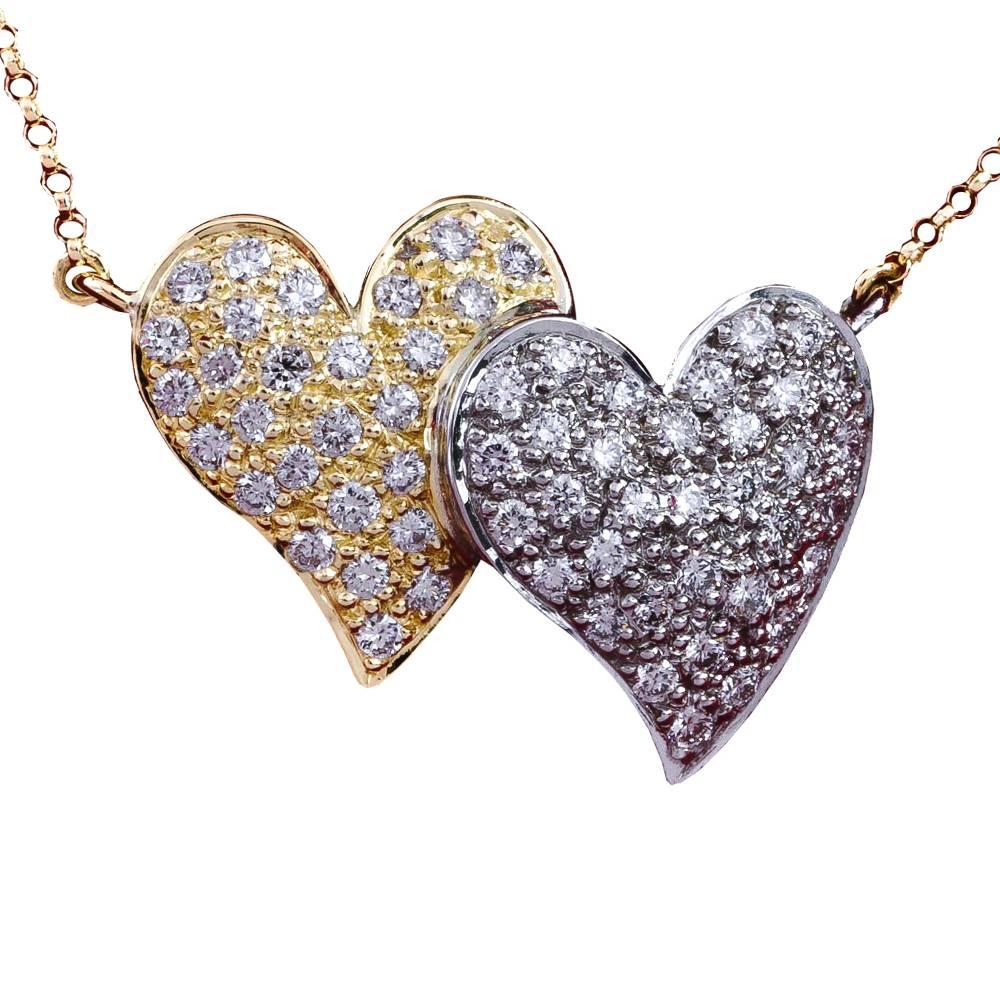 Daou Jewellery Diamond & Gold Touching Full Hearts Pendant 5dmhjY