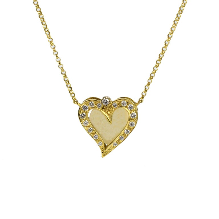 Diamond Heart Pendant Necklace, Opal and 18kt Yellow Gold, Handmade, Daou Modern
