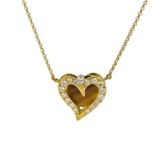 Diamond Heart Pendant Necklace, Tigers Eye 18k Yellow Gold handmade Daou