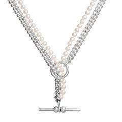 Silver Curb Chain Knotted Pearl T-Bar Clasp Choker Necklace