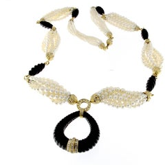 Pearl and Onyx Long Necklace 18 Karat Yellow Gold and Diamonds