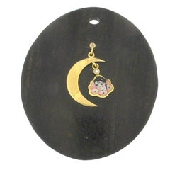Concave Ebony Disc with 18 Karat Yellow Gold and Diamond Pierrot Moon