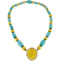 24 Karat Gold Lily Necklace and Turquoise Paste