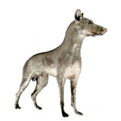 Male Doberman Dog Sculpture in Silver