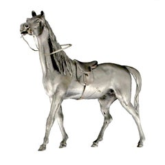 Sculpture Horse Saddled in Silver