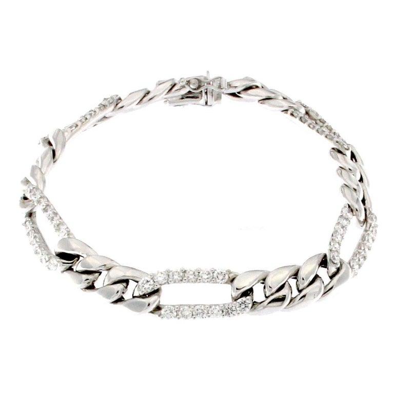 Classic Chain Bracelet in White Gold and White Diamond 18 Karat