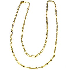 Handcrafted Long Yellow Gold Chain in 18 Karat