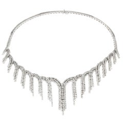 18 Karat White Gold and White Diamond Necklace from the Collection Peacock