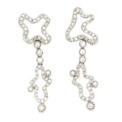 18 Karat White Gold and White Diamond Earrings