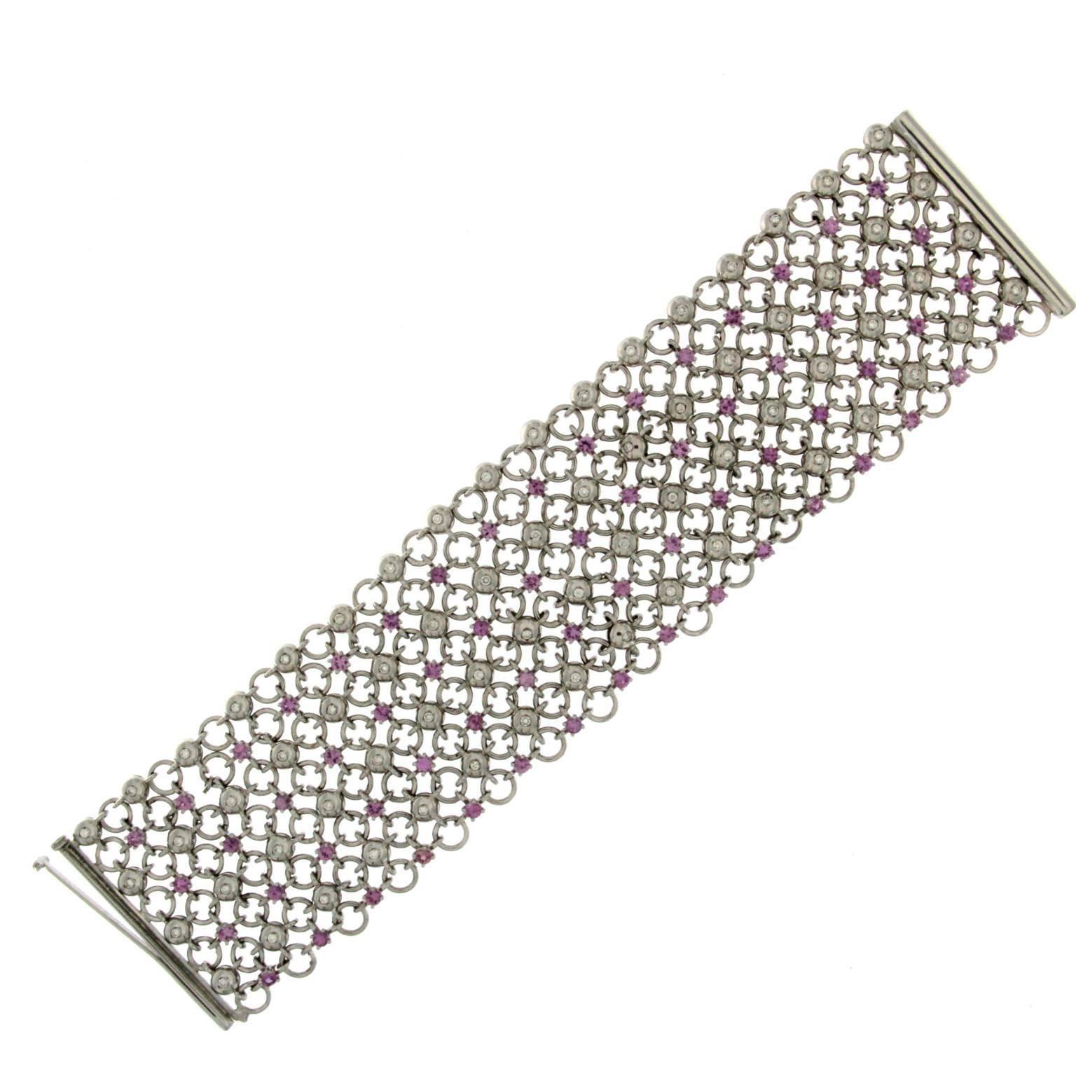 Pink Sapphire and Diamond White Gold 18 Karat Bracelet
