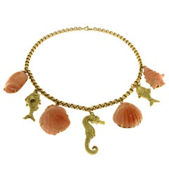 18 Karat Yellow Gold and Pink Coral Necklace