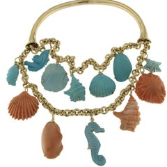18 Karat Yellow Gold and Pink Coral and Turquoise Necklace