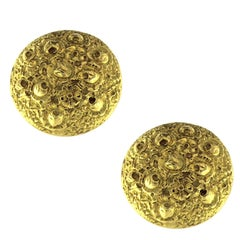 Chiselled Yellow Gold Earrings 18 Karat
