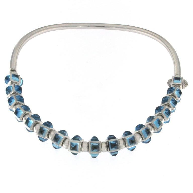 White Topaze and White Diamond Bracelet and Necklace in 18 Karat Gold