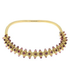 Yellow Gold and Pink Tormaline Bracelet and Necklace