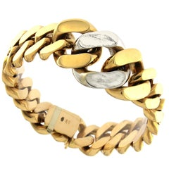 18 Karat Red and white Gold Chain Massif Bracelet