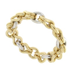 18 Karat Yellow and White Gold Chain Massif Effect Bracelet