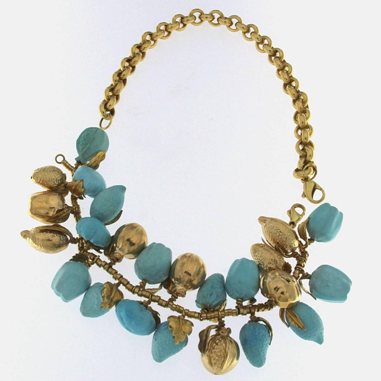 Turquoise and 18 Karat Yellow Gold Fruit Necklace In New Condition For Sale In Milan, IT