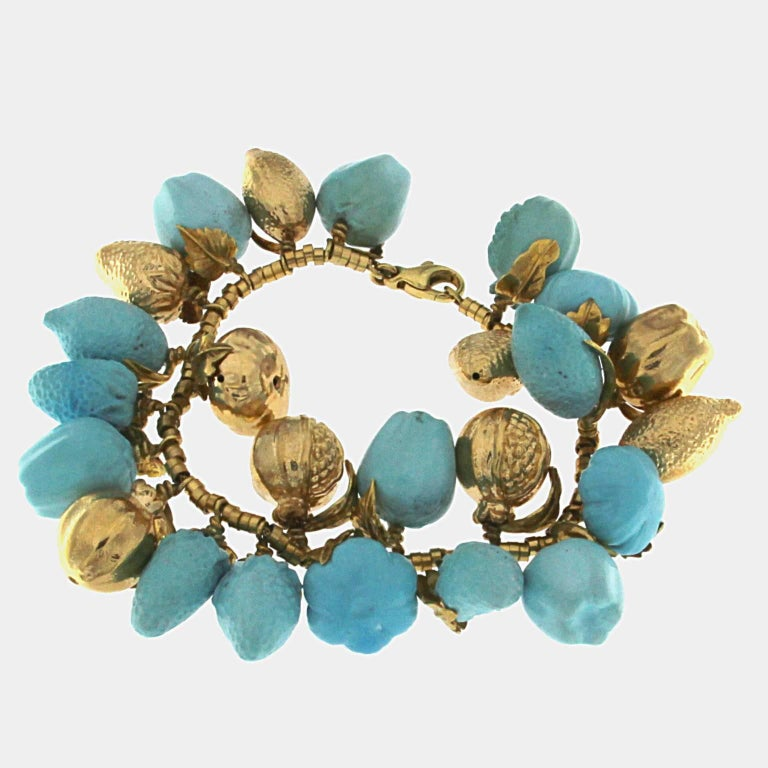 Women's Turquoise and 18 Karat Yellow Gold Fruit Necklace For Sale