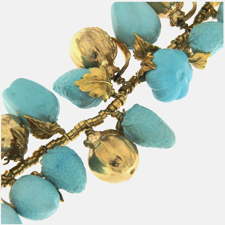 Turquoise and 18 Karat Yellow Gold Fruit Necklace For Sale 1