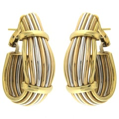 Three-Color Earrings in 18 Karat Gold