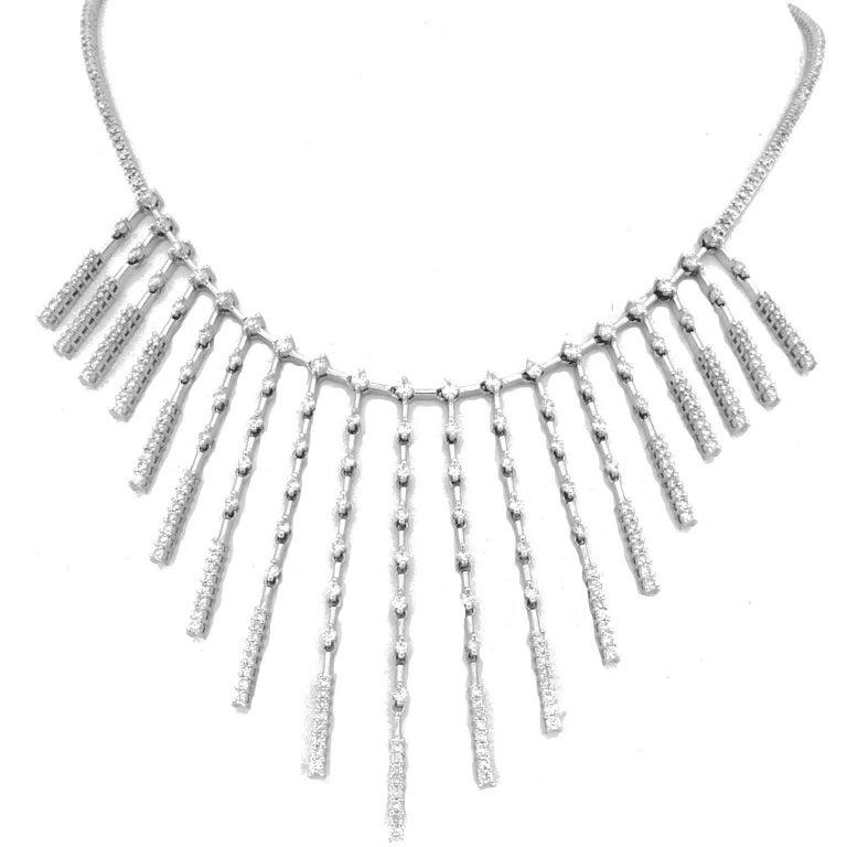 18 Karat White Gold and White Diamond Necklace