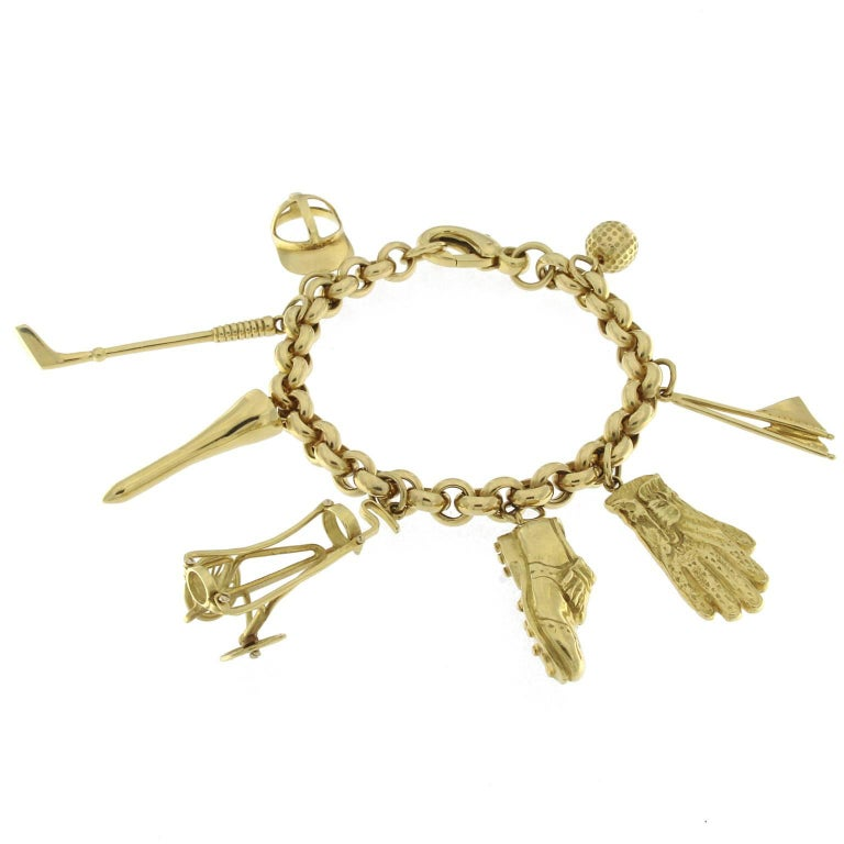 Bracelet in 18 Karat Yellow Gold golf charm For Sale