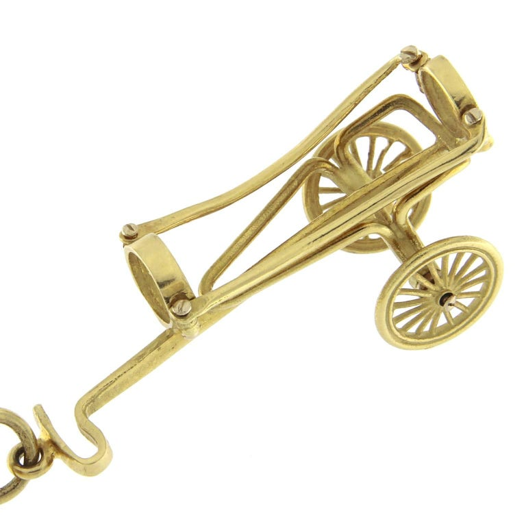 Bracelet in 18 Karat Yellow Gold golf charm For Sale 1