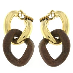18 Karat Yellow Gold Groumette Pair of Earrings with Leather Link