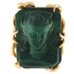 Ring 18 Karat Pink Gold with Engraved Malachite
