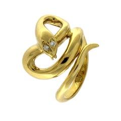 Snake Ring 18 Karat Yellow Gold with White Diamonds