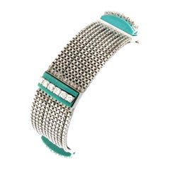 18 Karat White Gold Multichain Bracelet with Diamonds and Turquoise