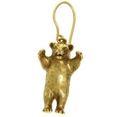 Single Earring Bear in 18 Karat Yellow Gold