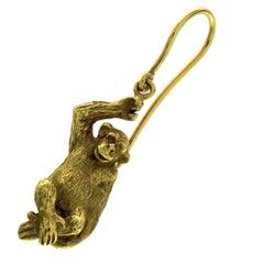 Single Earring Monkey in 18 Karat Yellow Gold