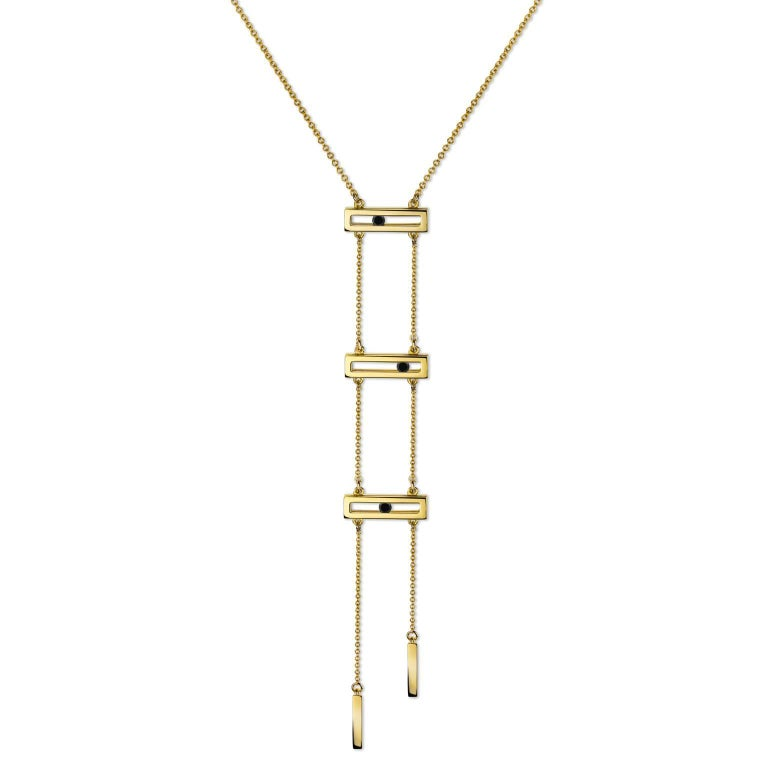 Luke Rose Yellow Gold Black Diamond Drop Necklace 1